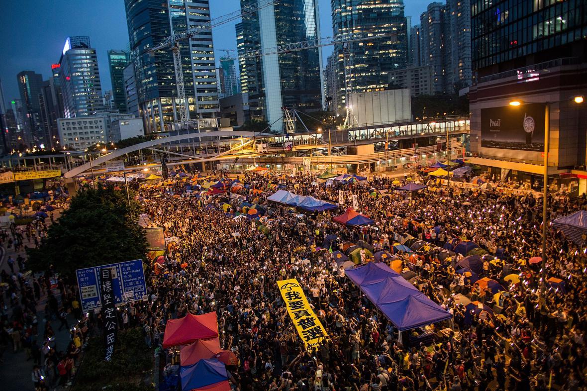 Demonstrace v centru Hongkongu