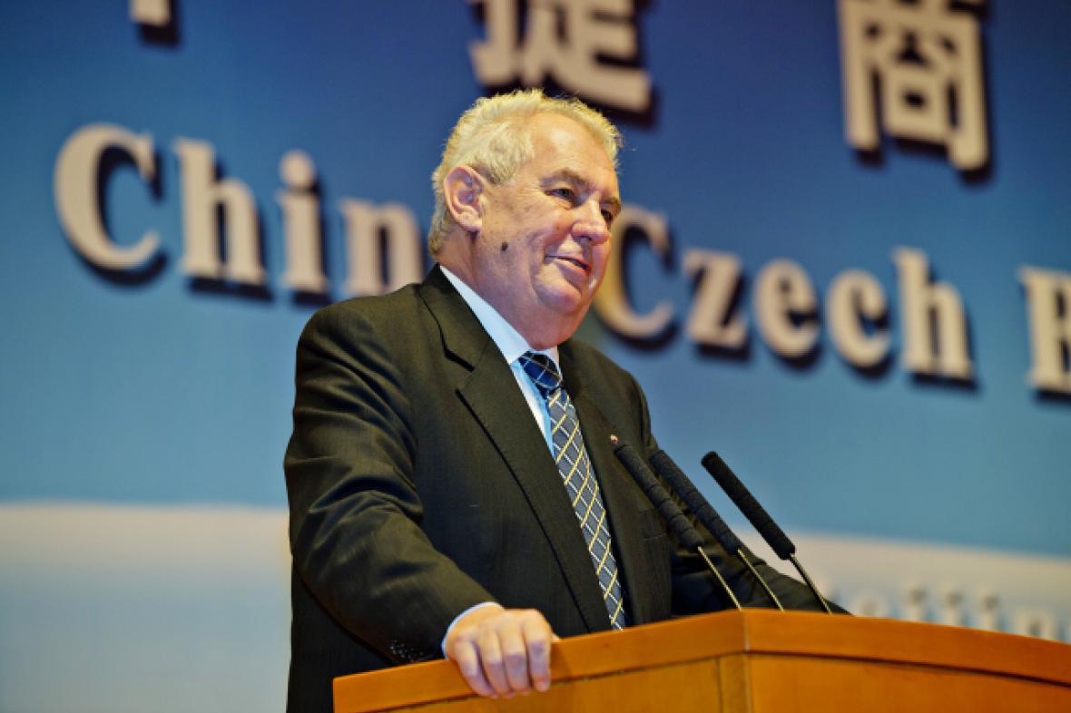 Miloš Zeman na česko-čínském podnikatelském fóru