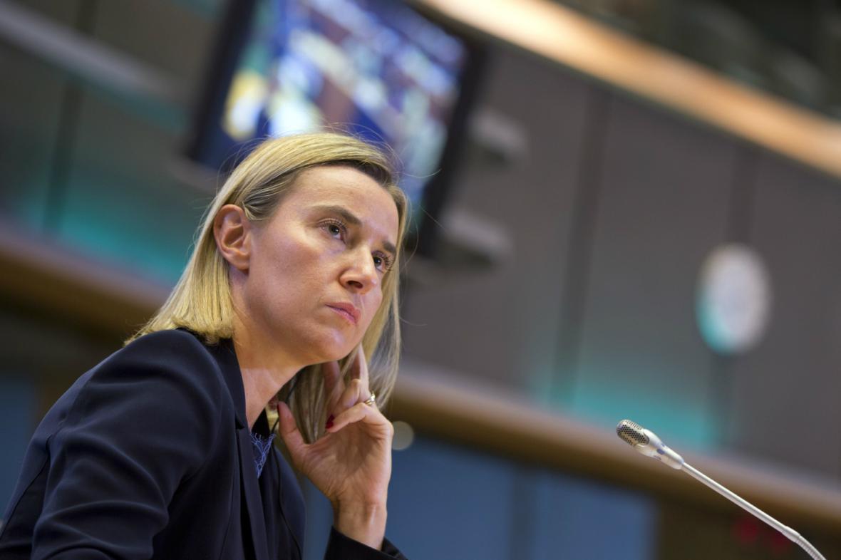 Federica Mogheriniová při slyšení v Evropském parlamentu