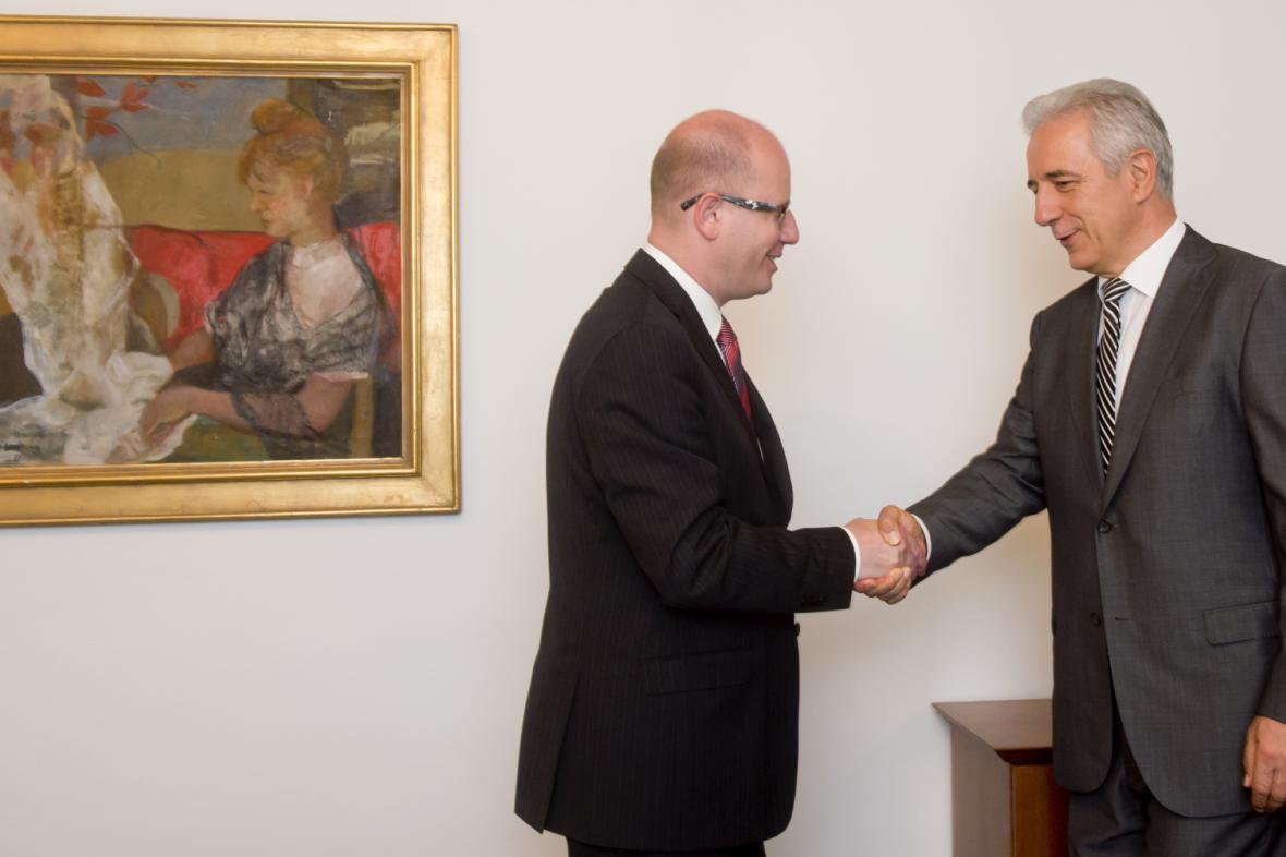 Premiér Bohuslav Sobotka se setkal v Poslanecké sněmovně v Praze se saským premiérem Stanislawem Tillichem