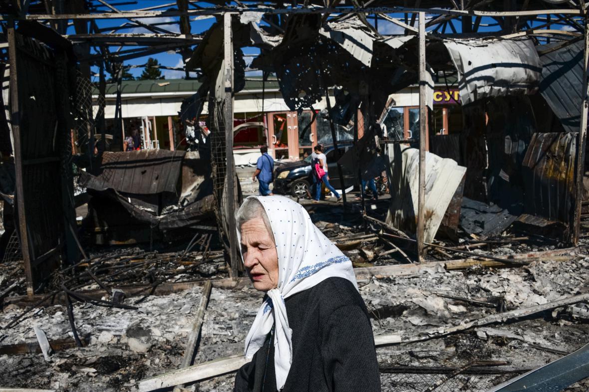 Pozůstatky bojů v Doněcku