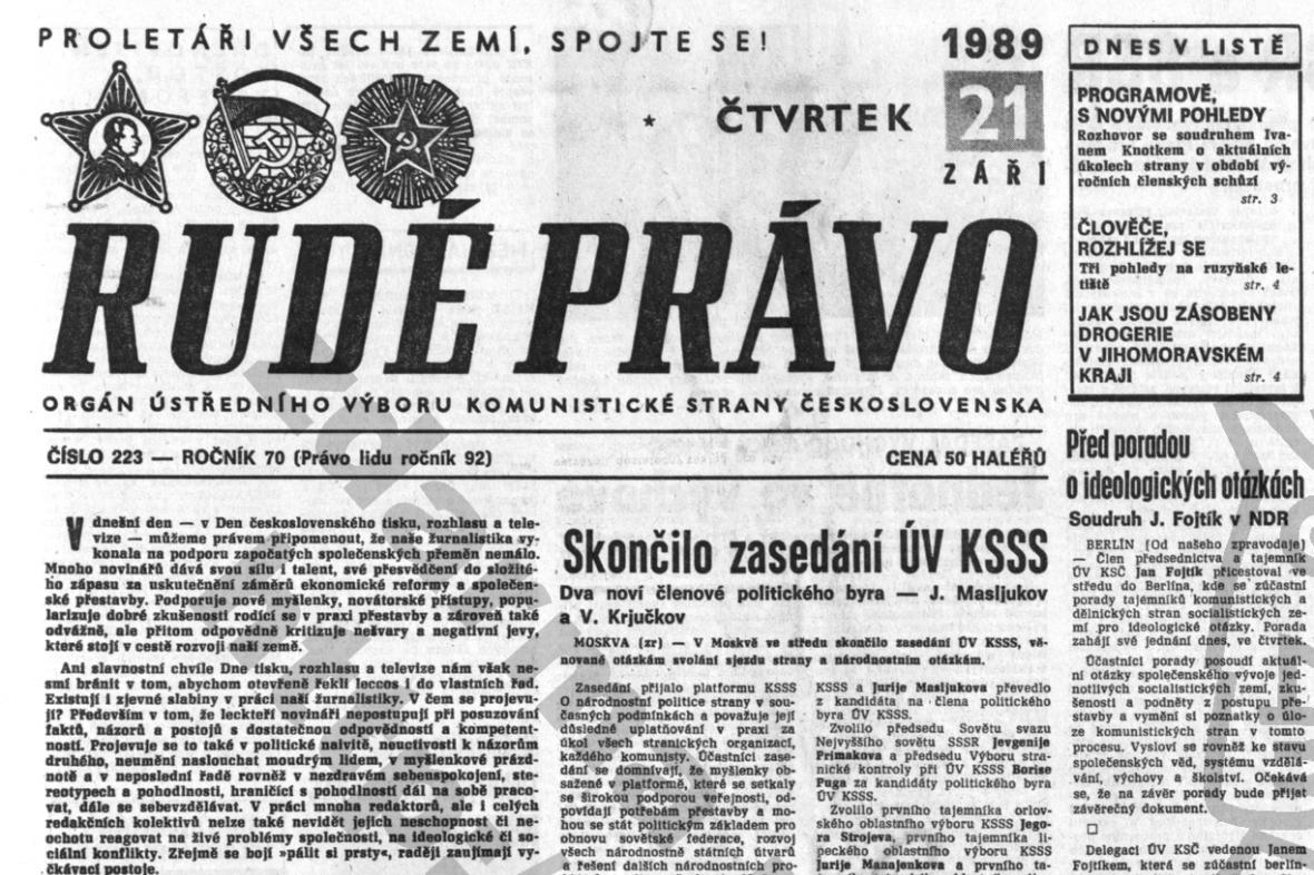 Rudé právo v Den tisku, rozhlasu a televize 1989