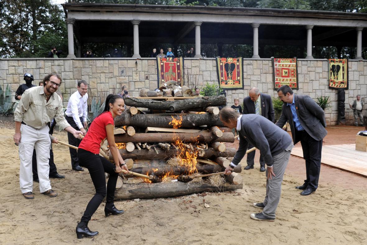 Královedvorská zoo zapálila rohy nosorožců