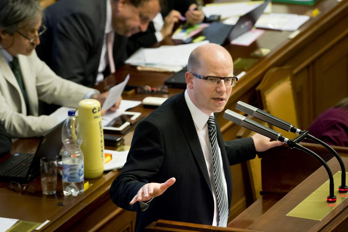 Premiér Bohuslav Sobotka ve sněmovně