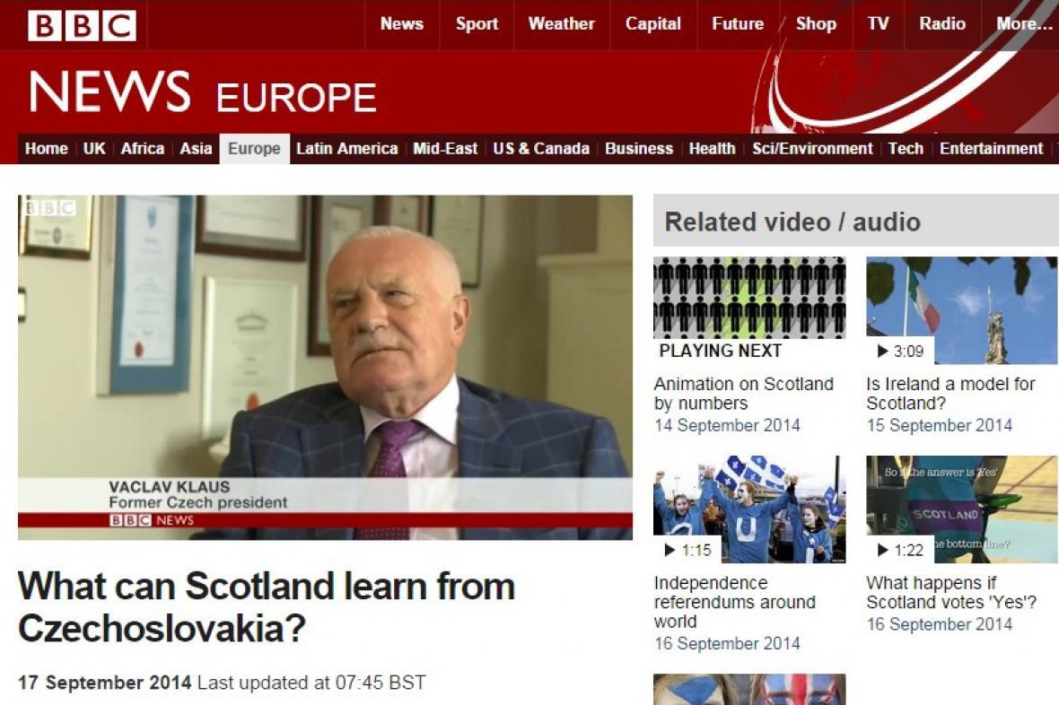 BBC hledá možné paralely mezi skotským referendem a rozpadem ČSFR