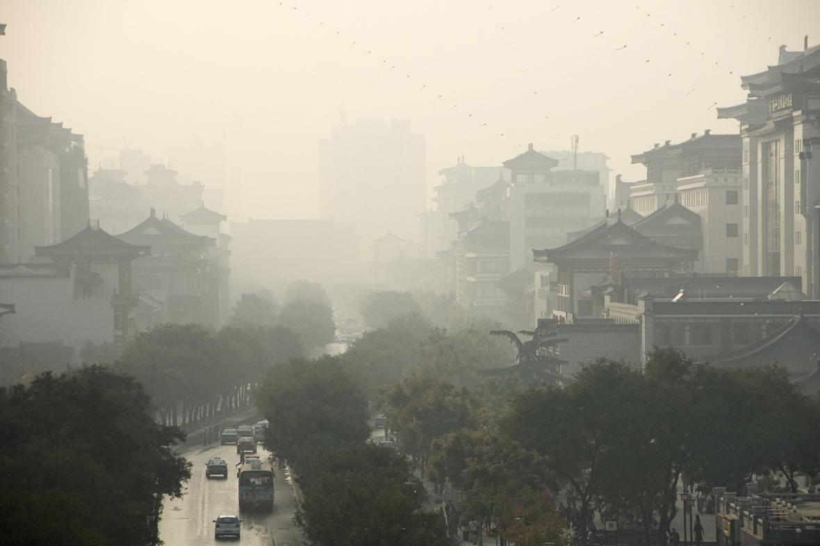 Smog ve městě Sien