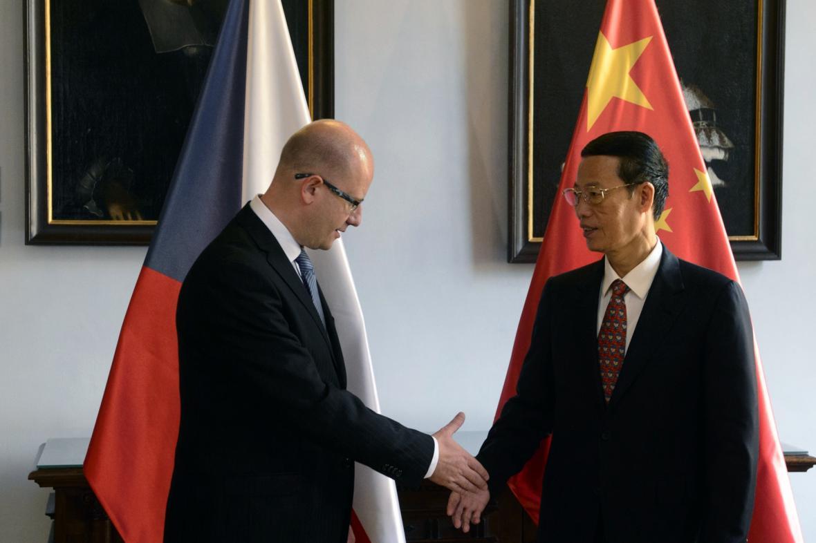 Vicepremiér Čang Kao-li s českým premiérem Bohuslavem Sobotkou