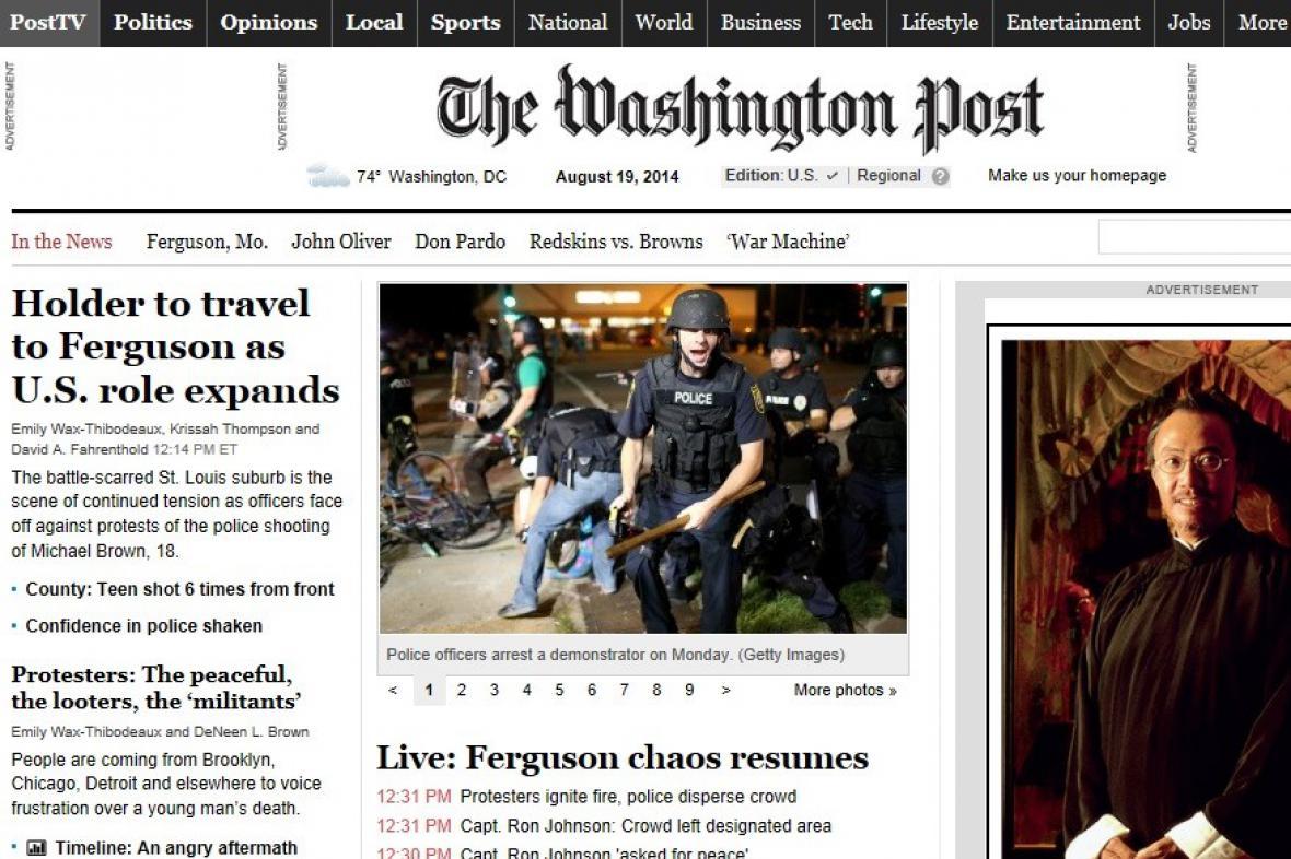 Washington Post informuje o nepokojích ve Fergusonu