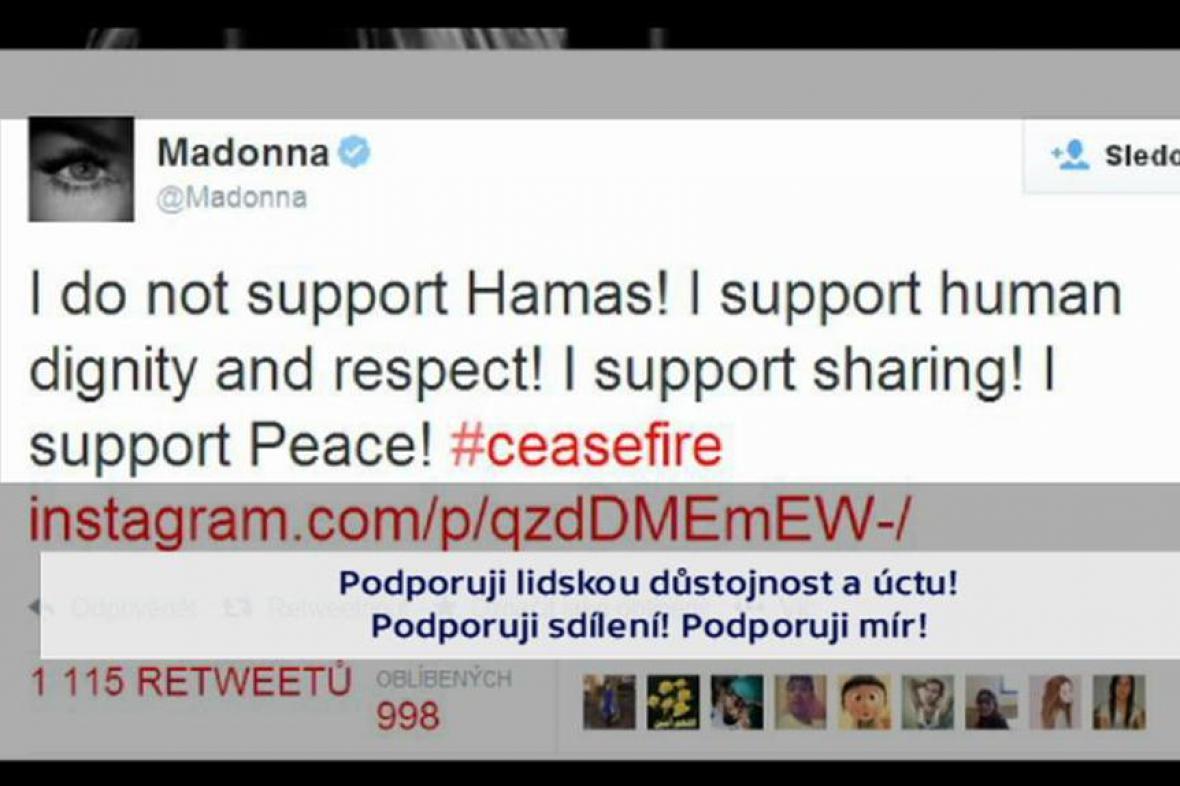 Madonnin příspěvek na Twitteru