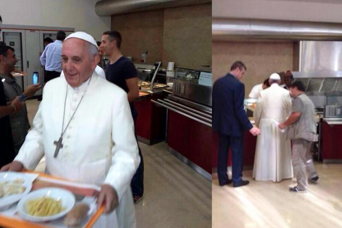 Papež František ve vatikánské jídelně