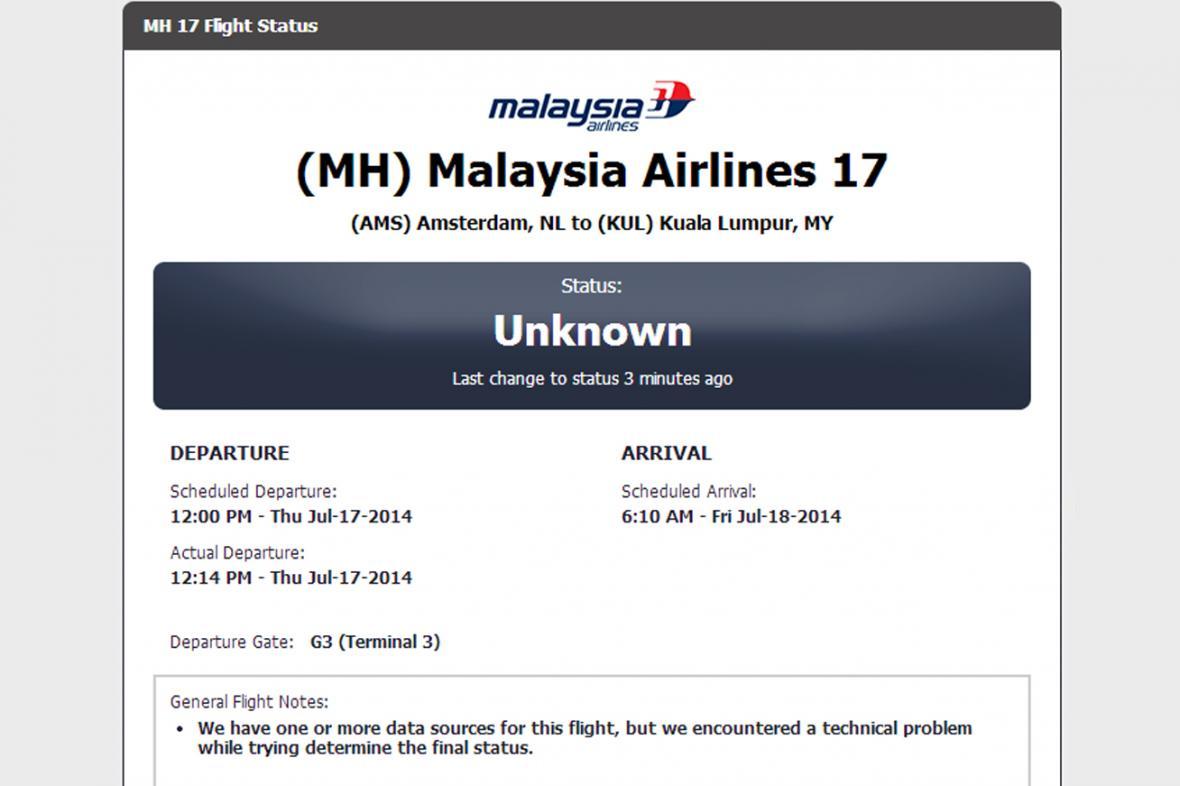 Na Ukrajině se zřítilo malajsijské letadlo