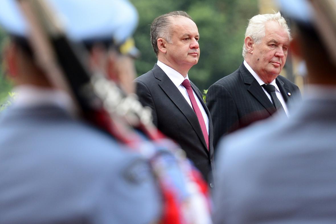 Andrej Kiska a Miloš Zeman na Pražském hradě