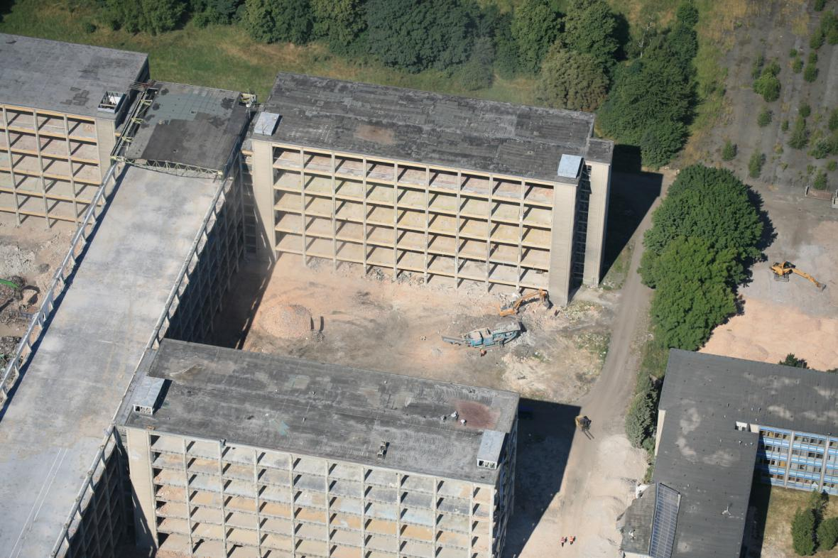 Areál OP Prostějov před odstřelem