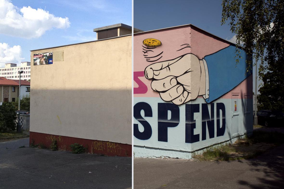 Graffiti Pasty Onera na trafostanici Jižního Města