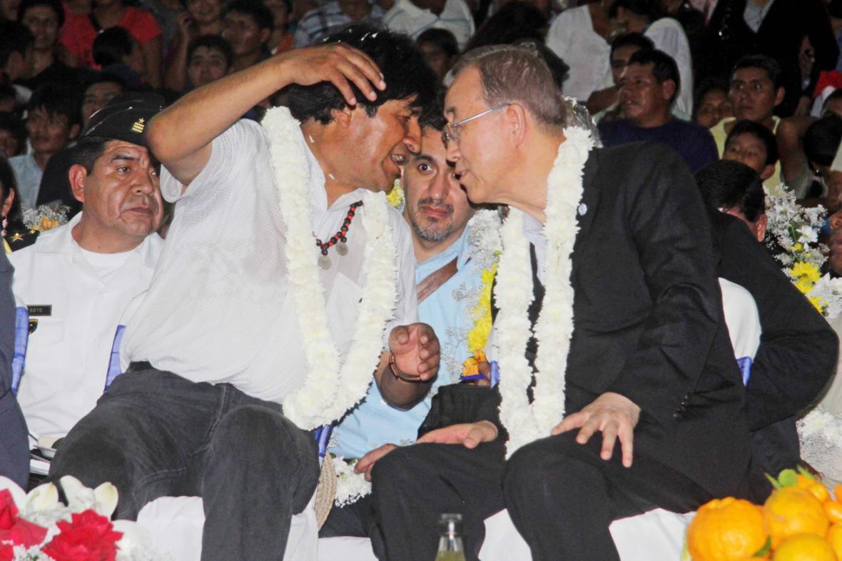 Evo Morales a Pan Ki-mun