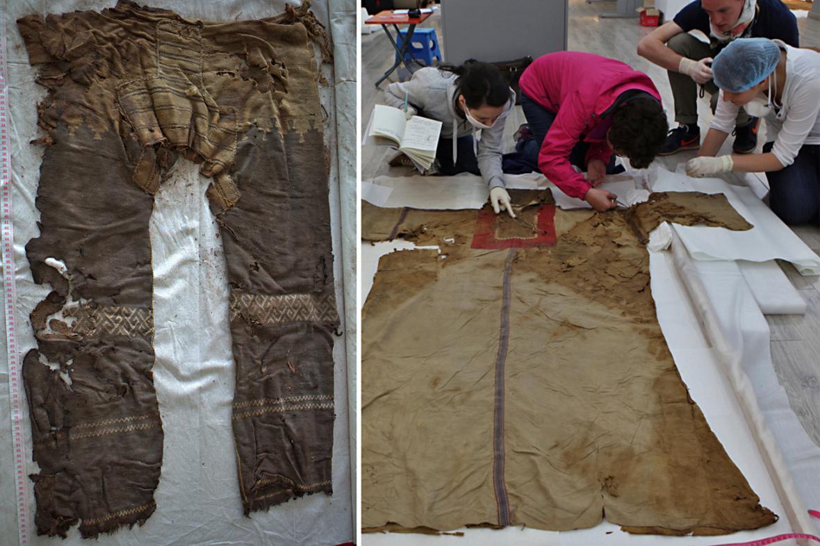 Kalhoty staré 3200 let a hedvábný oděv starý 1800 let