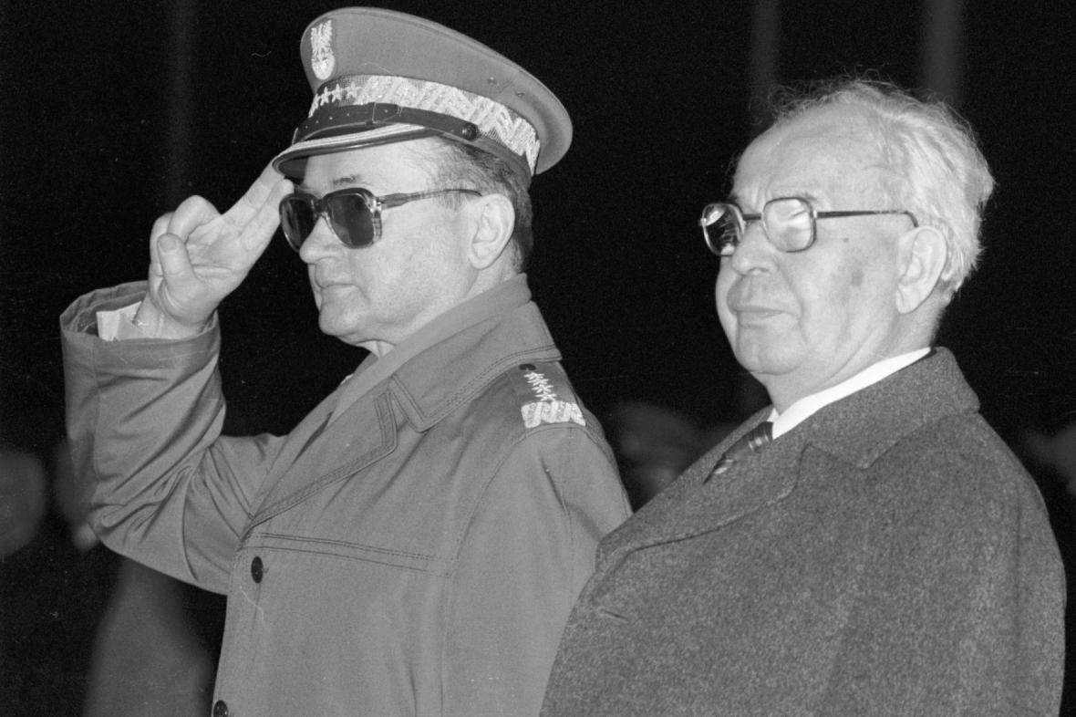 Generál Wojciech Jaruzelski a Gustáv Husák
