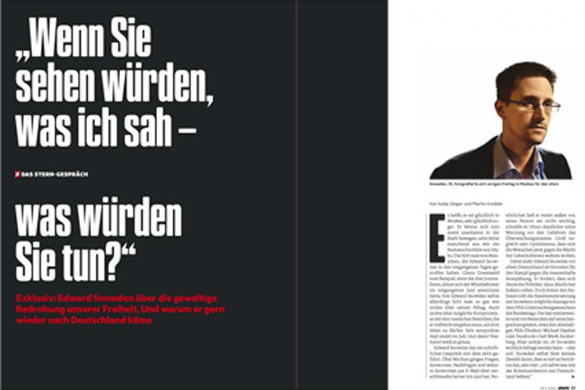 Rozhovor Edwarda Snowdena pro týdeník Stern