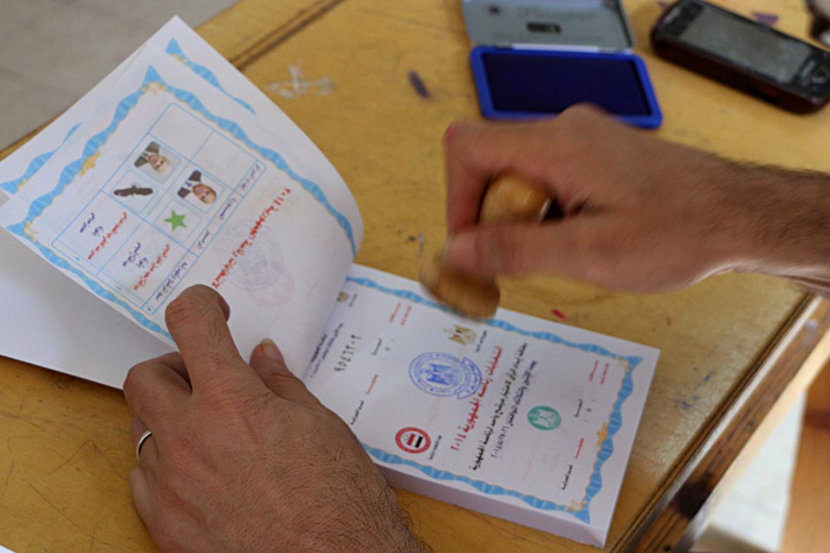 Volební lístky v Egyptě