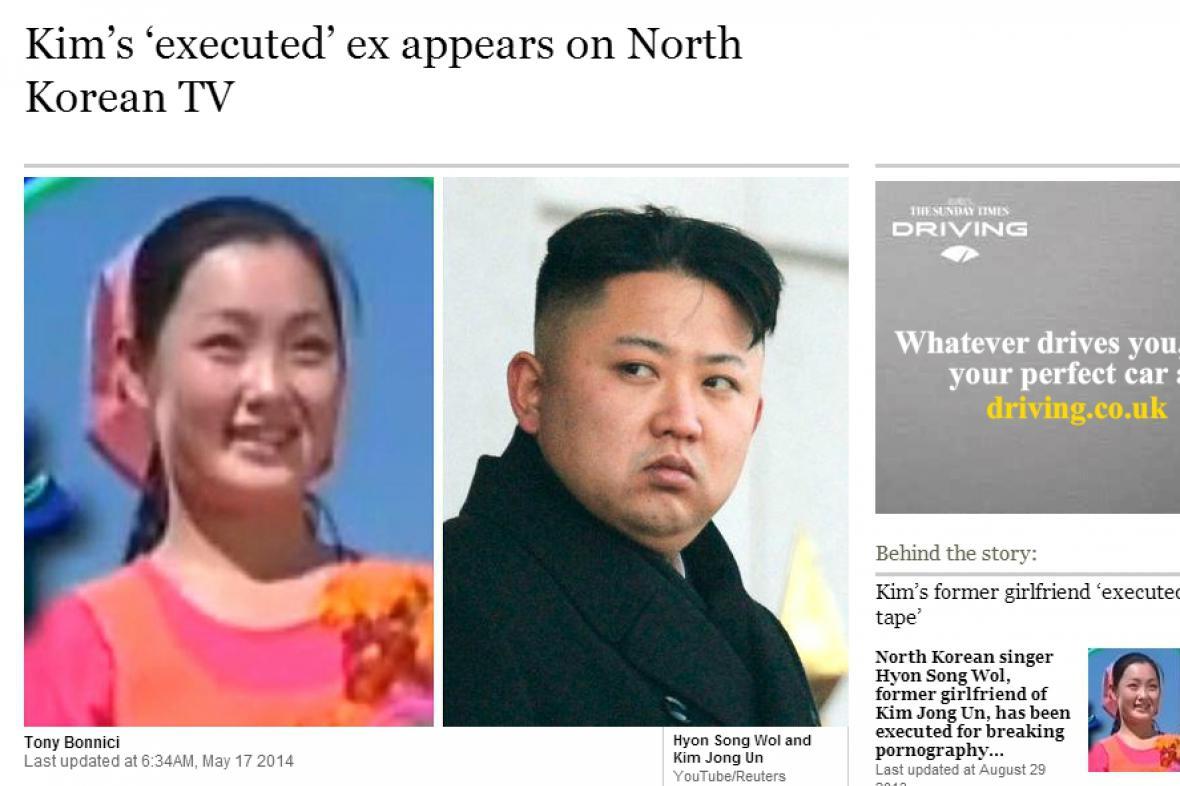 Podle The Times Kimova exmilenka na popravišti neskončila