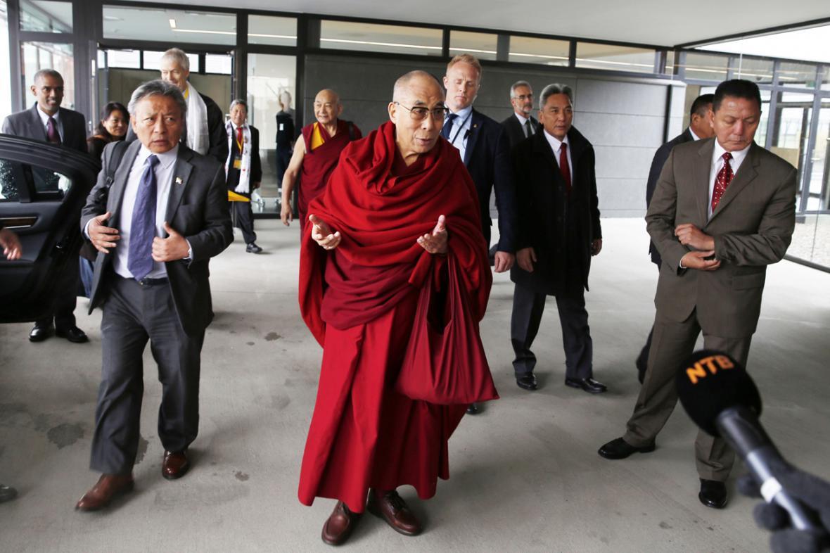 Tibetský dalajlama po příjezdu do Osla