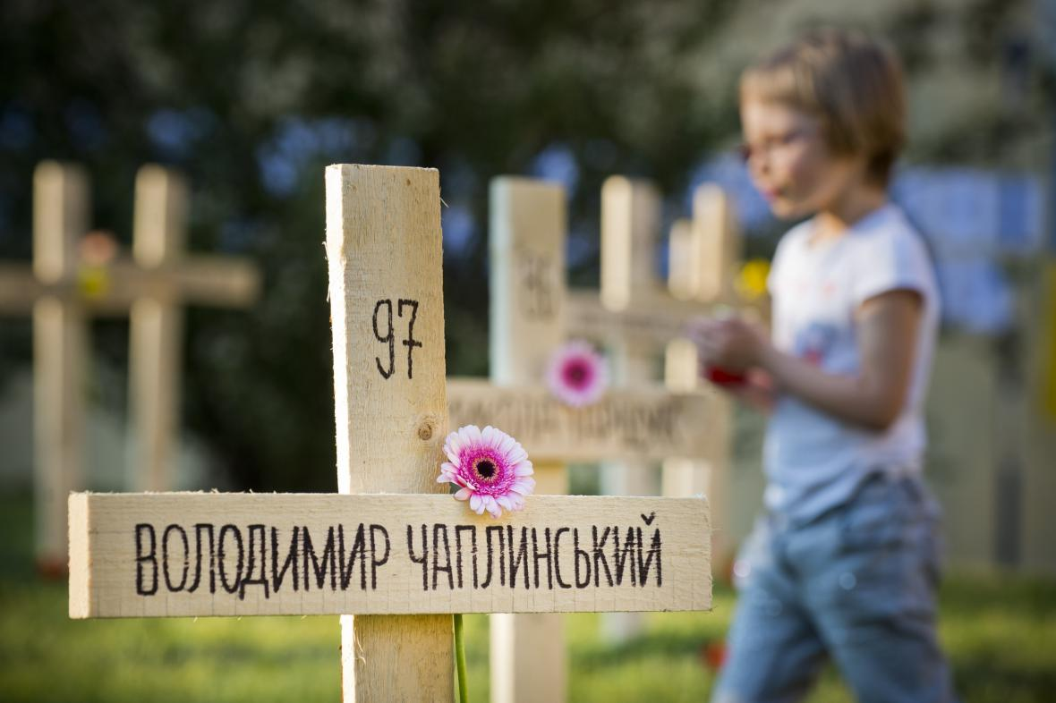 Symbolický hřbitov za padlé Ukrajince