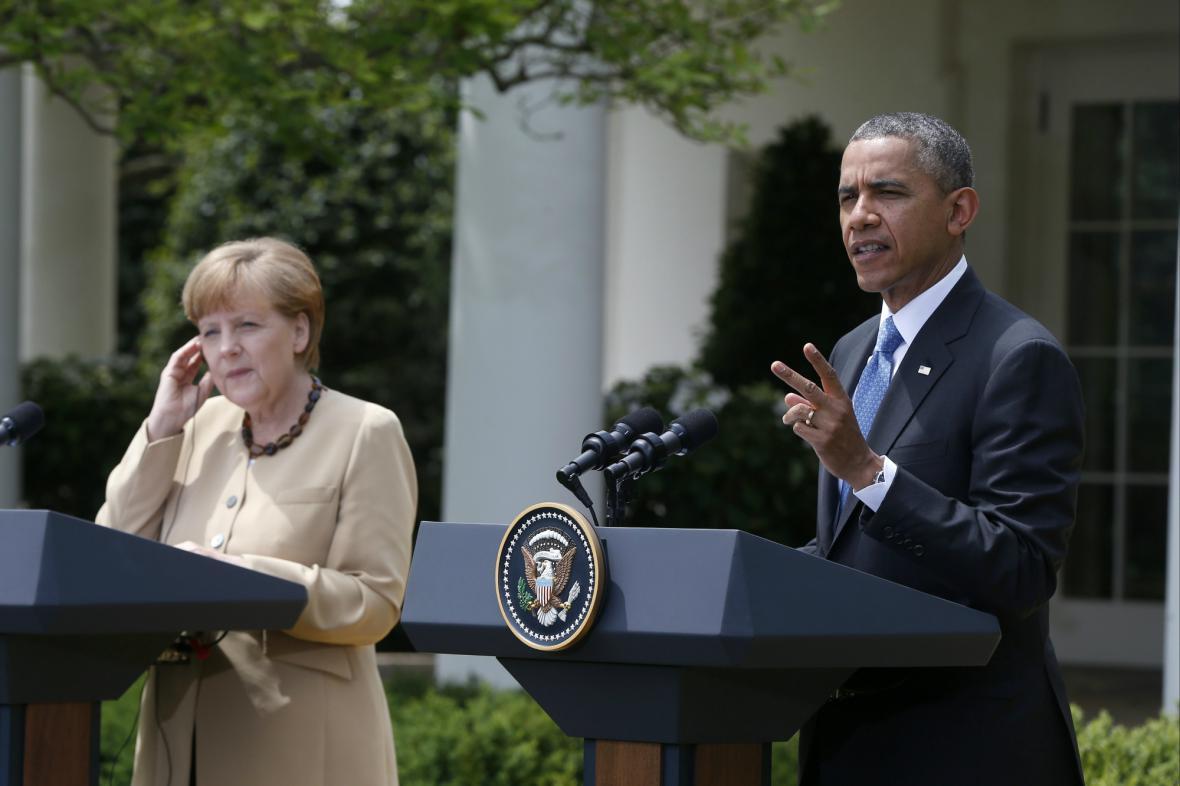 Angela Merkelová po jednání s Barackem Obamou