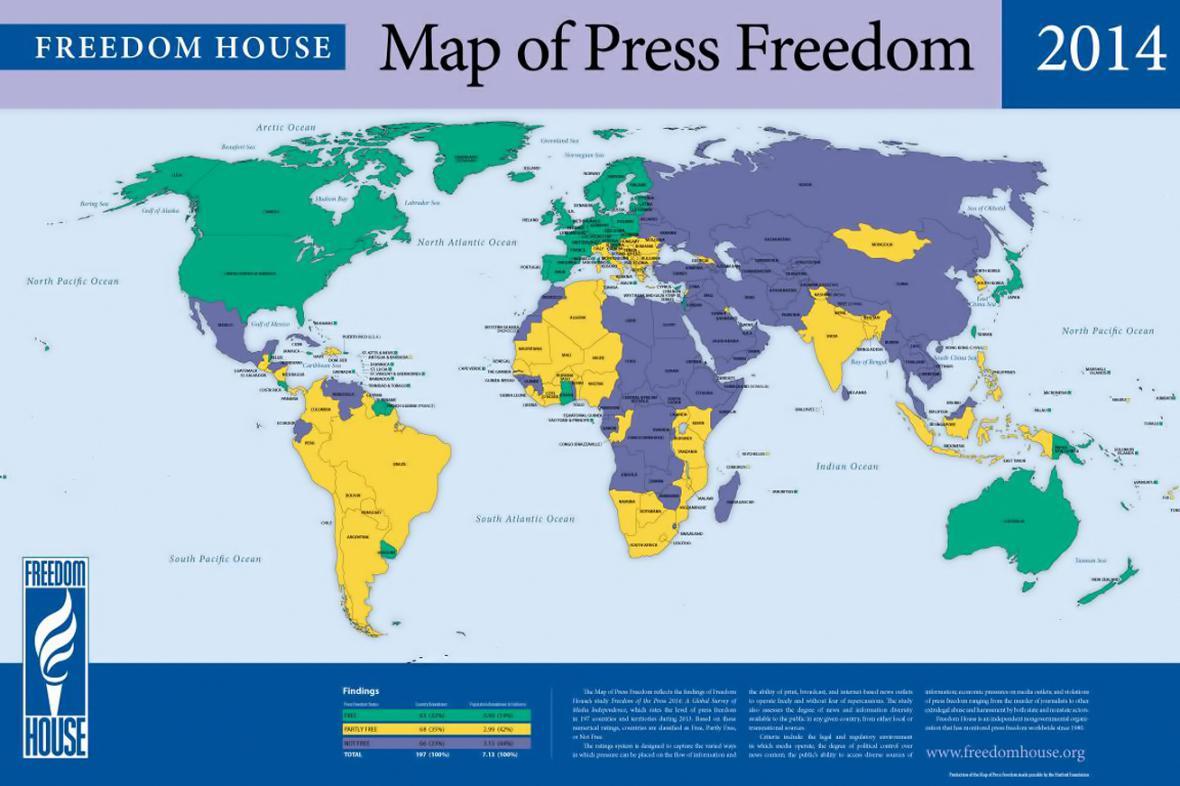 Mapa svobody tisku podle Freedom House