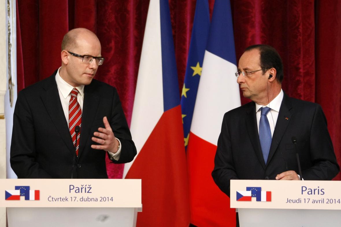 Bohuslav Sobotka a Francois Hollande