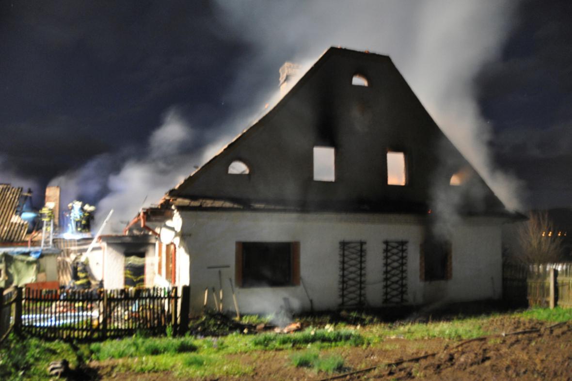 Požár statku na Šumpersku