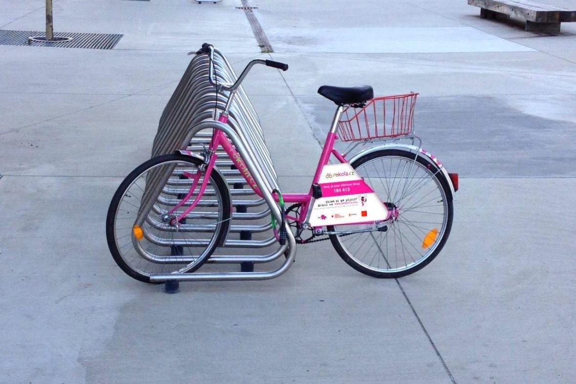 Růžová kola v pražských ulicích