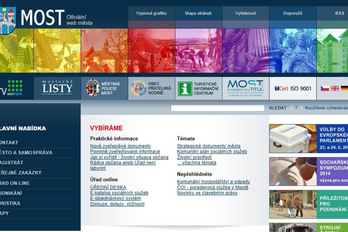 Webové stránky města Most