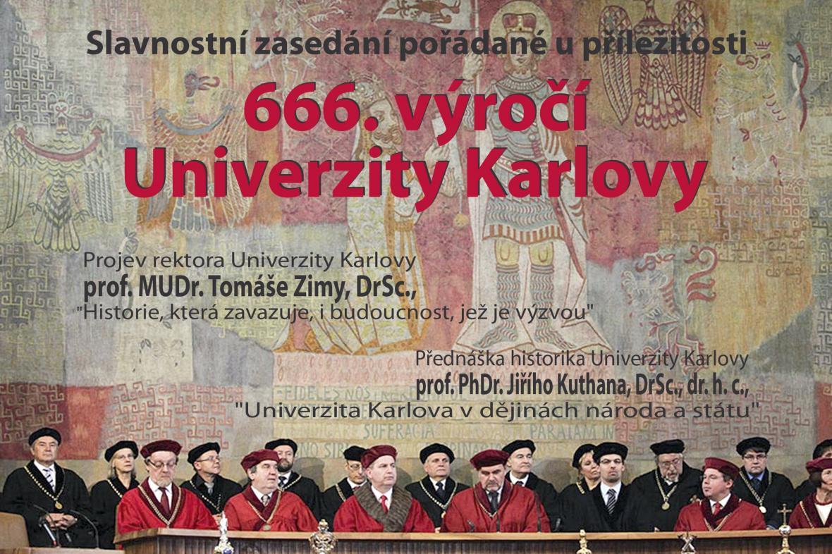 Pozvánka na slavnostní zasedání Univerzity Karlovy