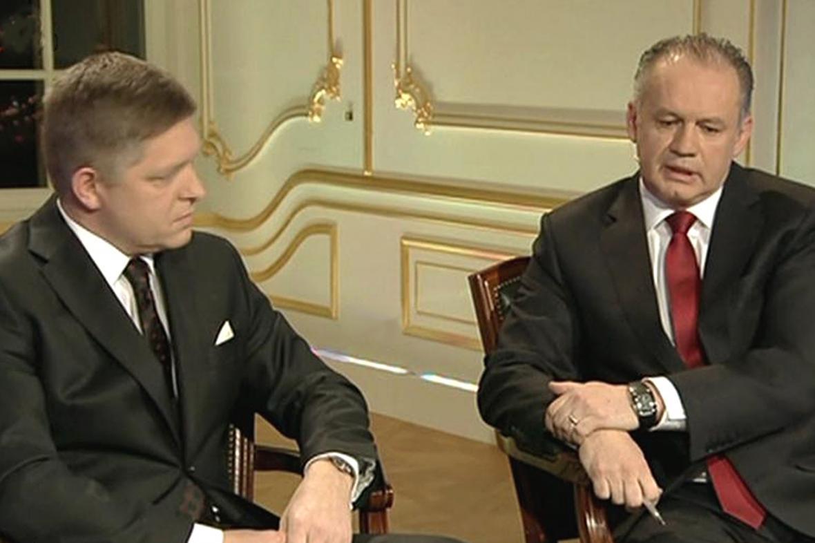 Robert Fico a Andrej Kiska v posledním předvolebním duelu