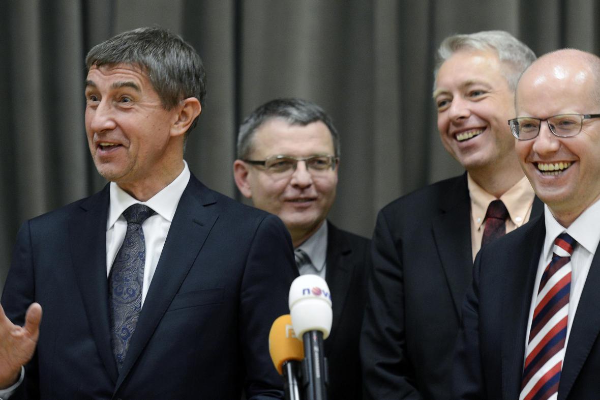 Andrej Babiš, Lubomír Zaorálek, Milan Chovanec a Bohuslav Sobotka