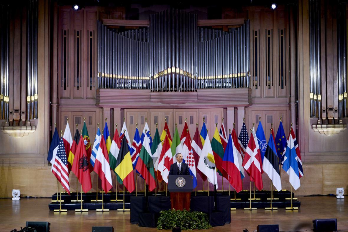 Obamův projev v bruselském centru Bozar