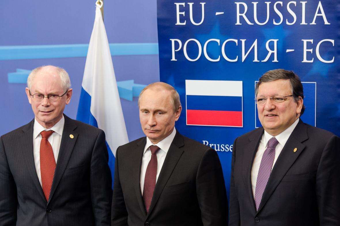 Herman Van Rompuy, Vladimir Putin a José Manuel Barroso