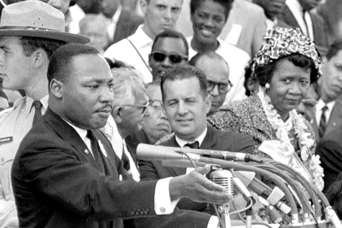 Martin Luther King při projevu v roce 1963