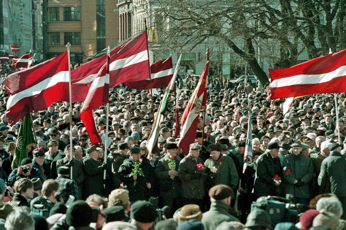 Pochod lotyšských veteránů z Waffen SS