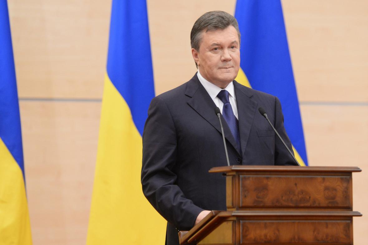 Viktor Janukovyč během tiskové konference