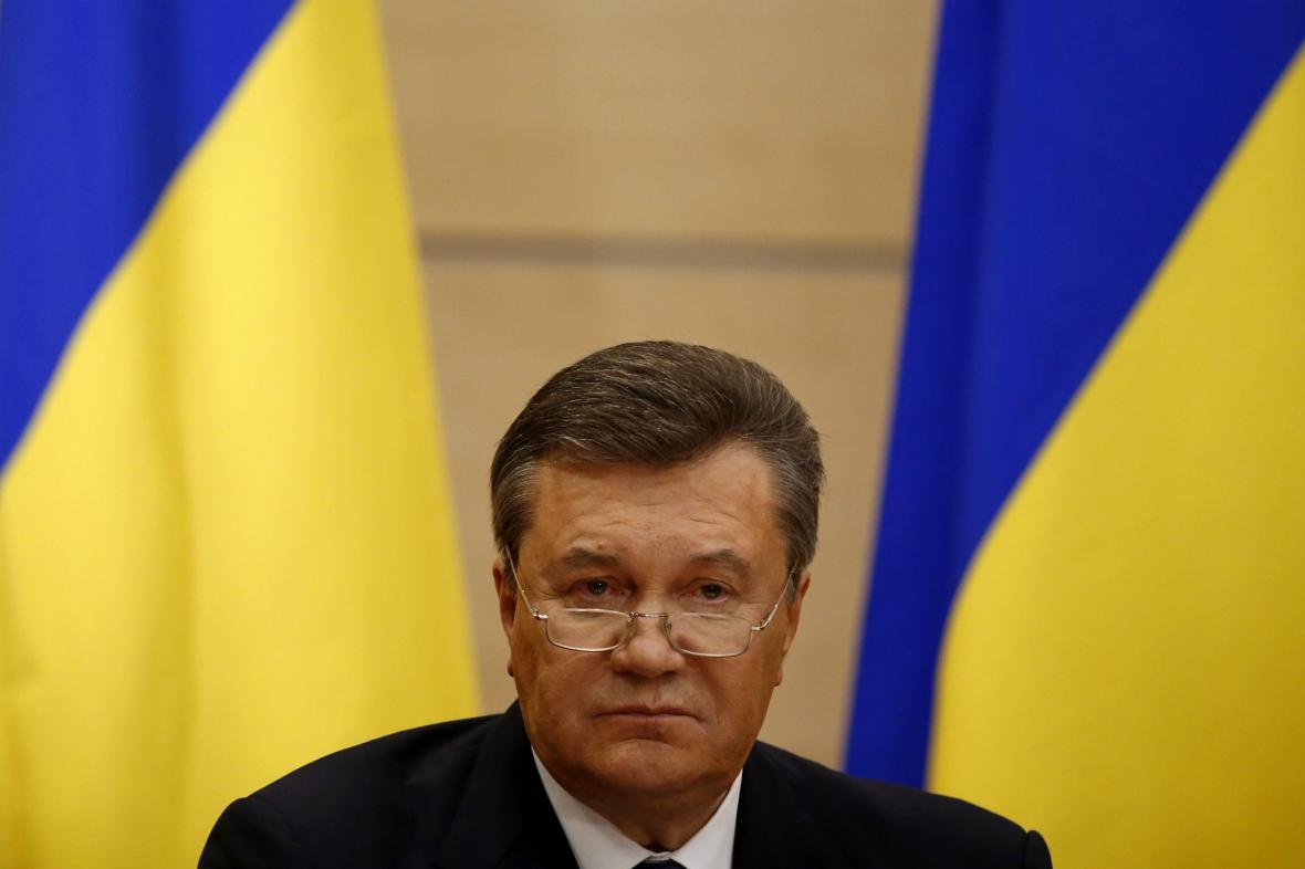Janukovyč během tiskové konference v Rostově na Donu