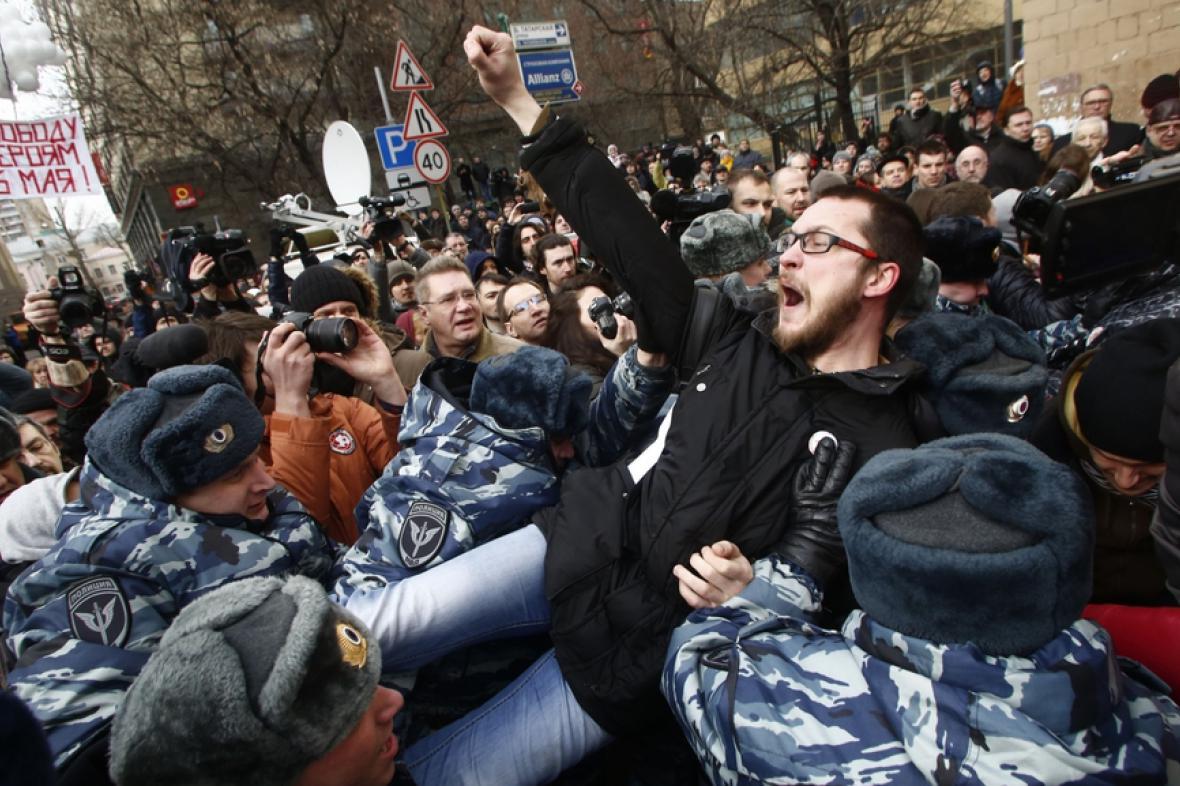 Demonstrace před moskevským soudem