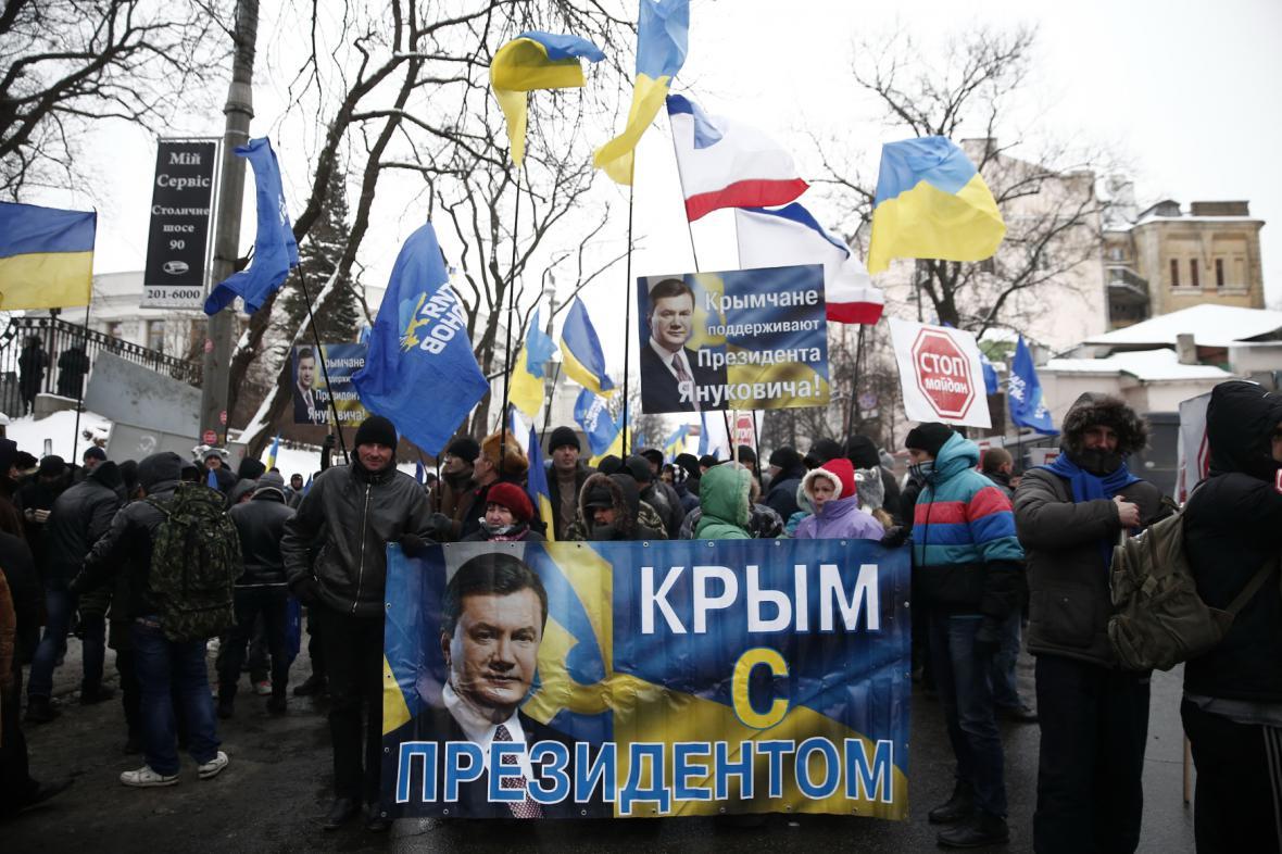 Příznivci prezidenta Janukovyče