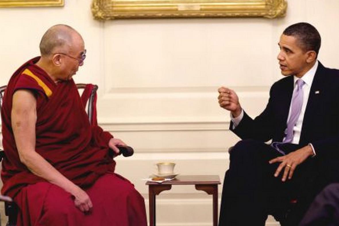 Dalajlama na setkání s Barackem Obamou v roce 2010