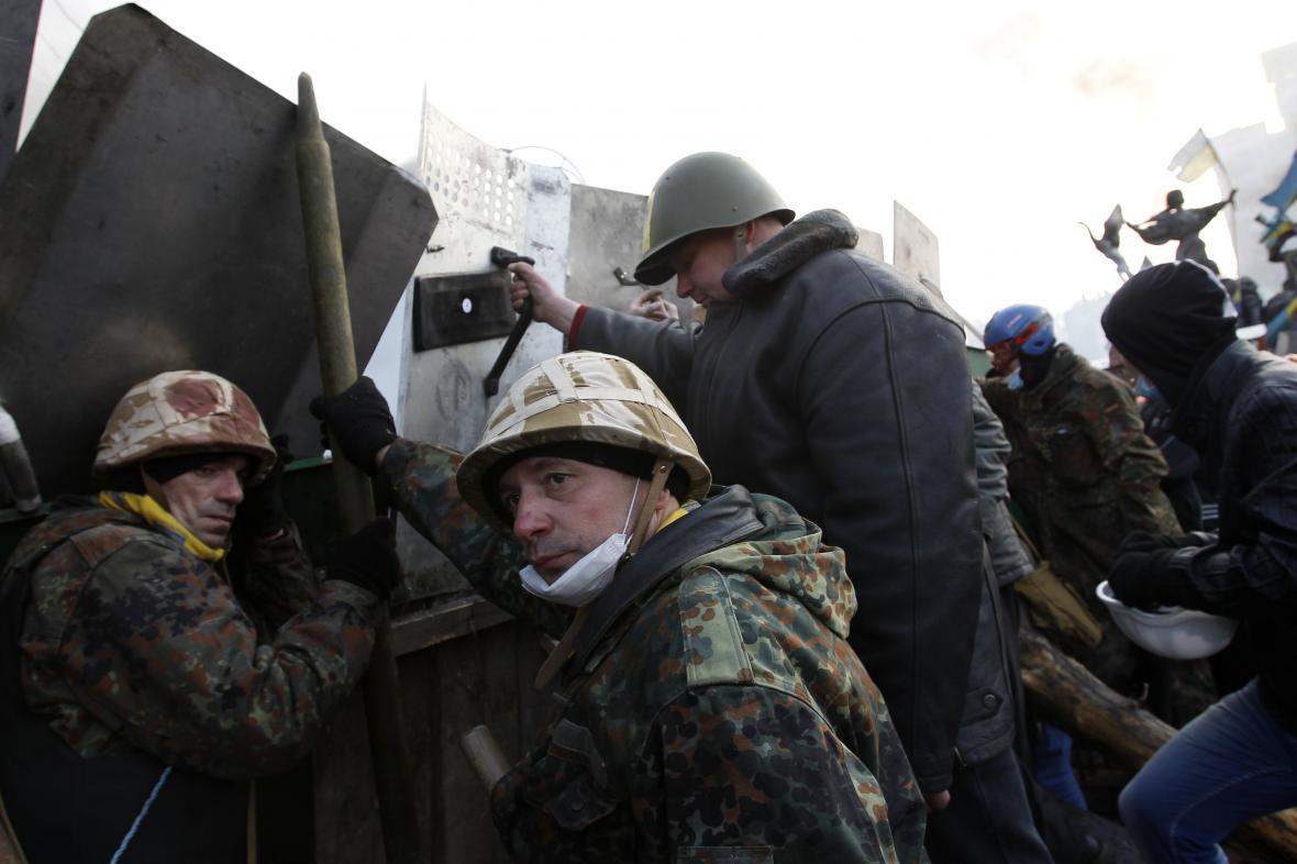 Protivládní demonstrace v centru Kyjeva