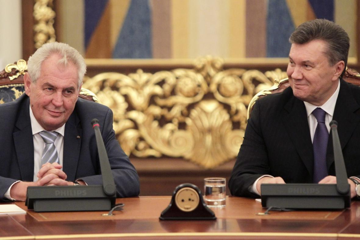 Miloš Zeman a Viktor Janukovyč