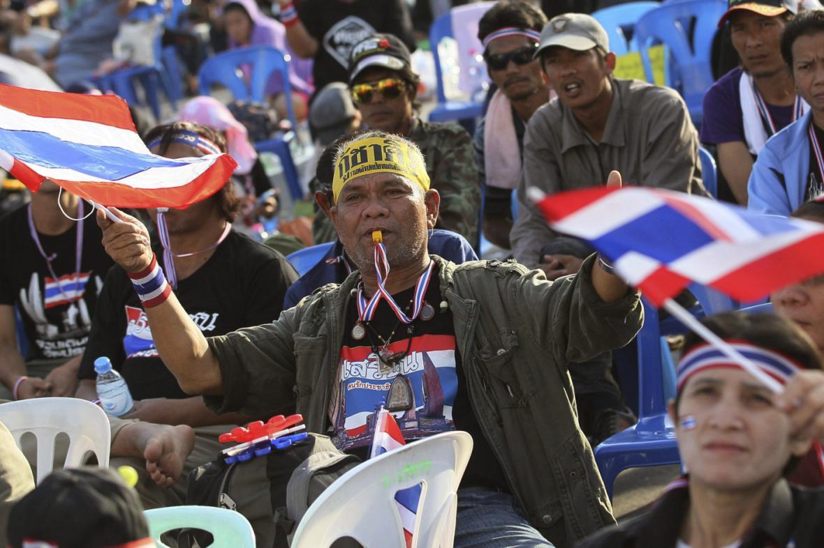 Protivládní demonstranti v Bangkoku