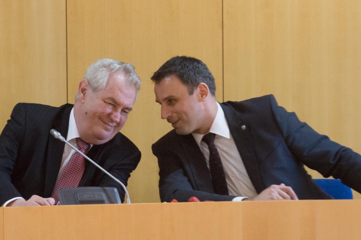 Miloš Zeman s jihočeským hejtmanem Jiřím Zimolou