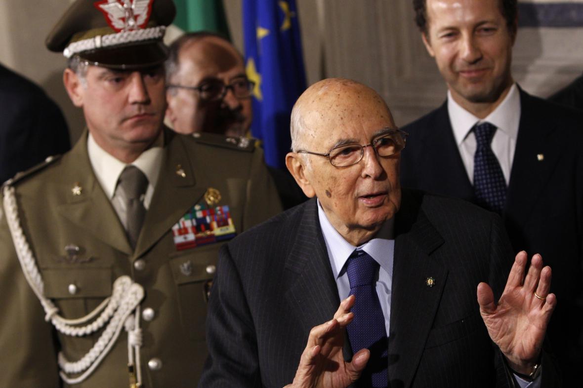 Italský prezident Giorgio Napolitano po jednání s předsedy stran