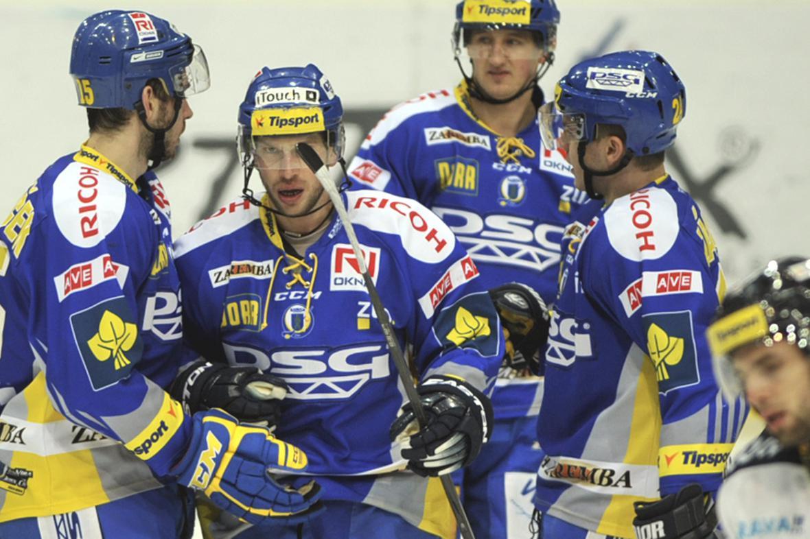 Radující se hokejisté Zlína